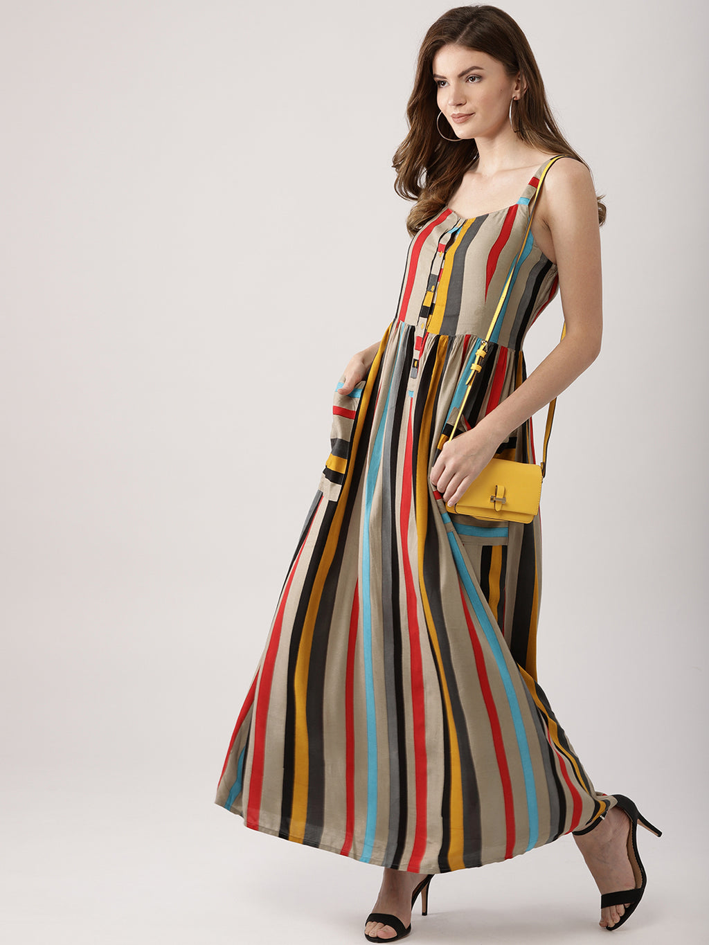 Women Multicoloured Striped Maxi Dress (Fully Stitched) | Znx4ever.com