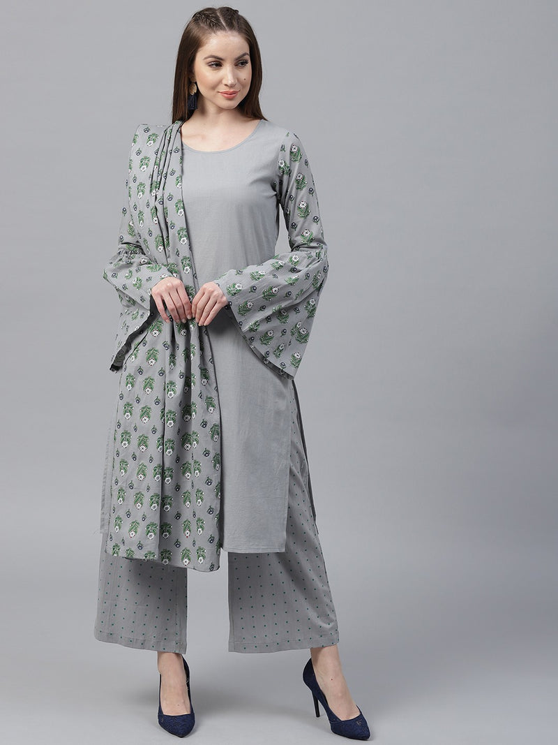 Grey Floral Printed Straight Kurta With Dot Printed Palazzo & Dupatta Set (Fully Stitched) | Znx4ever.com