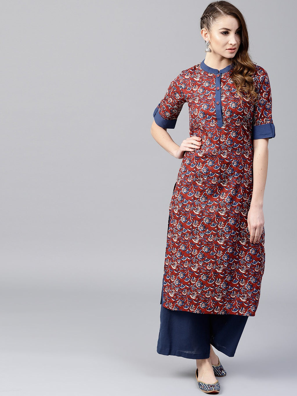 Burgundy Printed Straight Kurta With Blue Solid Palazzo Set (Fully Stitched) | Znx4ever.com