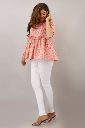 PINK PRINTED TUNIC WITH TIE-UP DETAILS