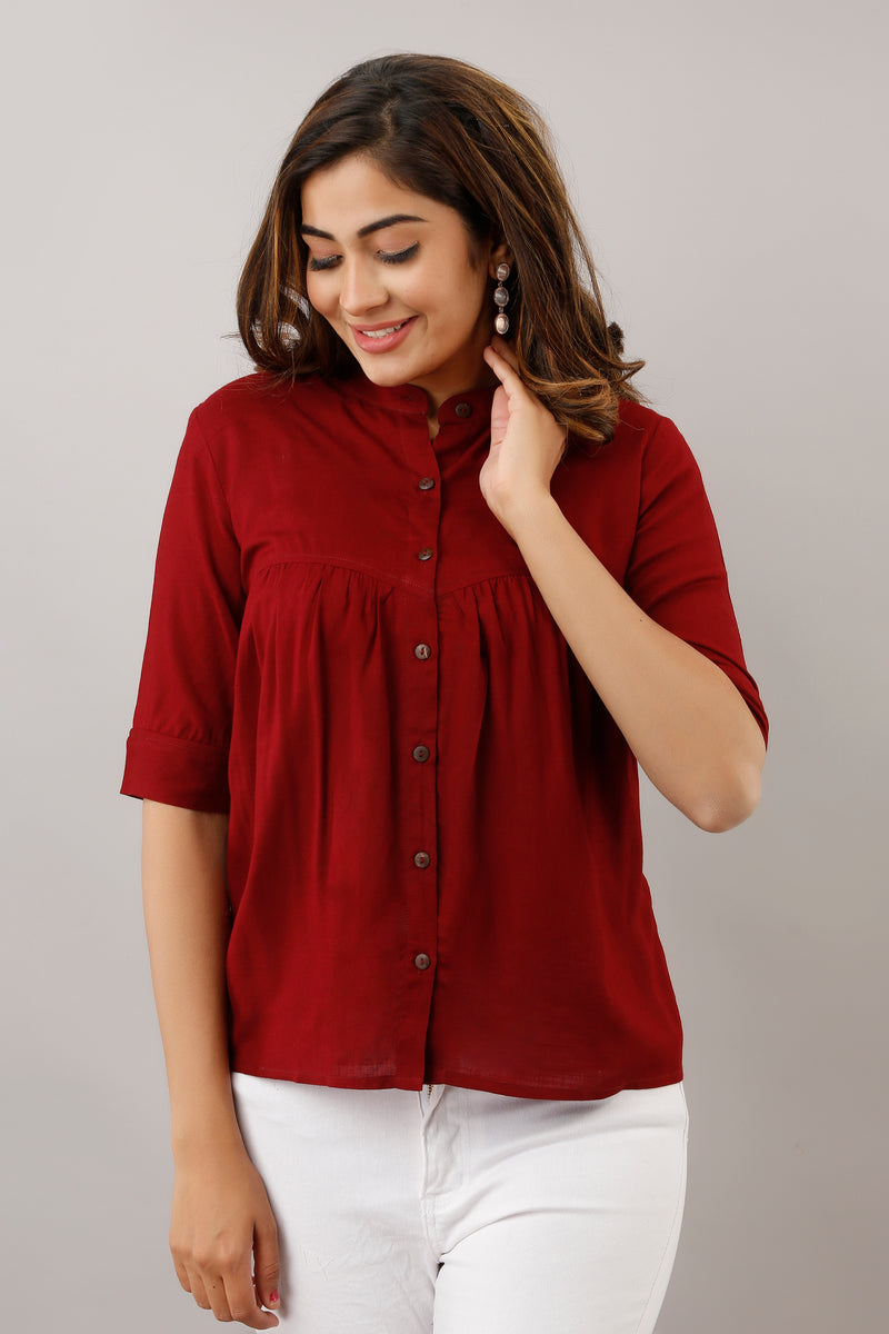 MAROON SOLID GATHERED TUNIC SHIRT