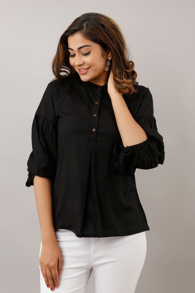BLACK TUNIC WITH BALLOON SLEEVES