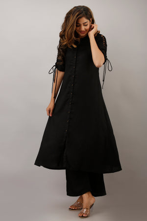 BLACK A-LINE KURTA WITH SLEEVE DETAILS AND PALAZZO