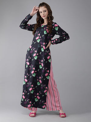 Navy Blue & Pink Printed Kurta with Palazzos (Fully Stitched)