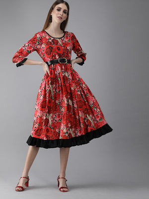 Red & Black Printed Fit and Flare Dress (Fully Stitched)