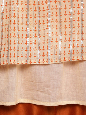 Peach-Coloured & Silver-Toned Printed A-Line Longline Top With Gathers (Fully Stitched)