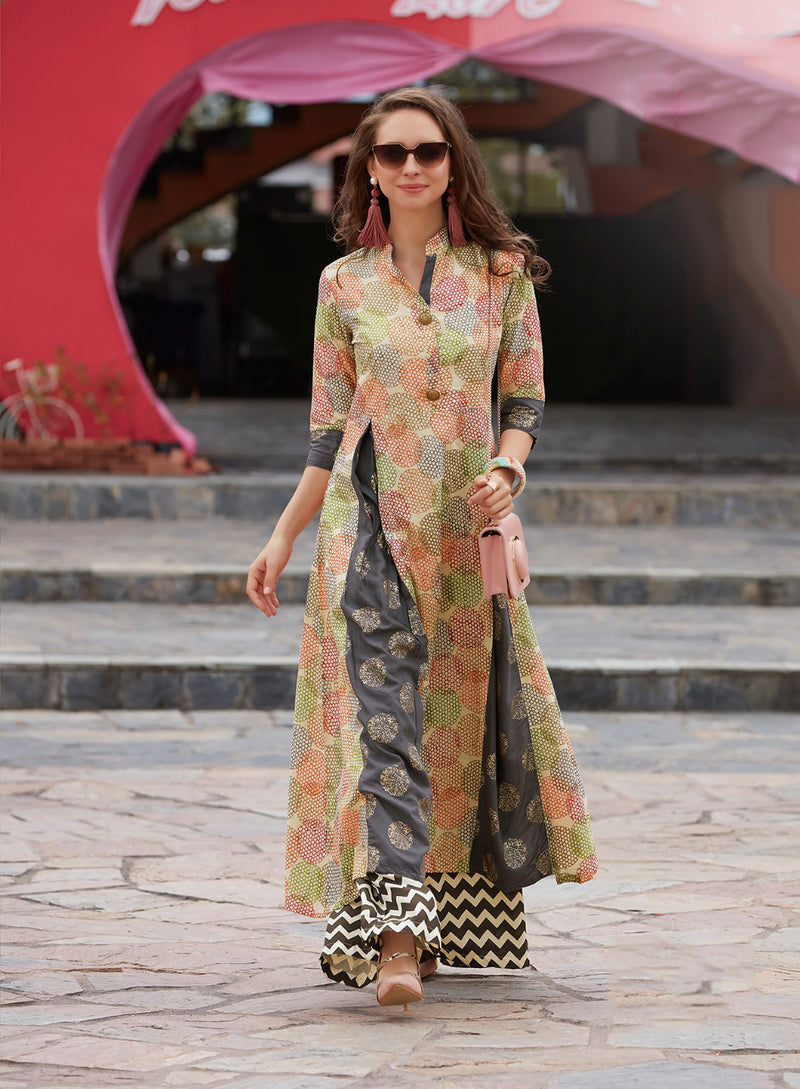 Kajal Style Multicolour Printed Flared Cotton Kurti | Znx4ever.com