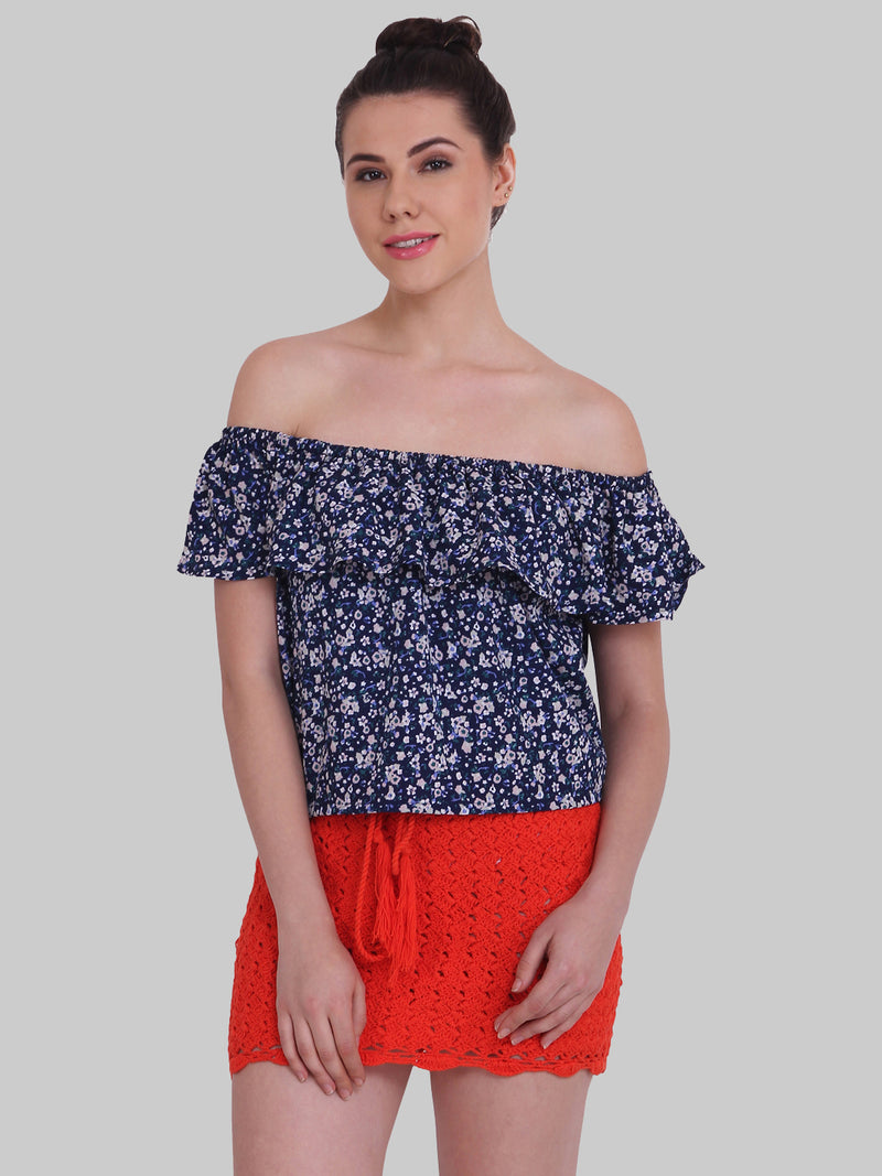 Floral Off shoulder Regular sleeve TOP | Znx4ever.com