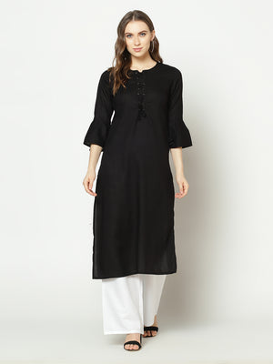 ZNX Women Solid Black Ankle Length Kurta (Fully Stitched)