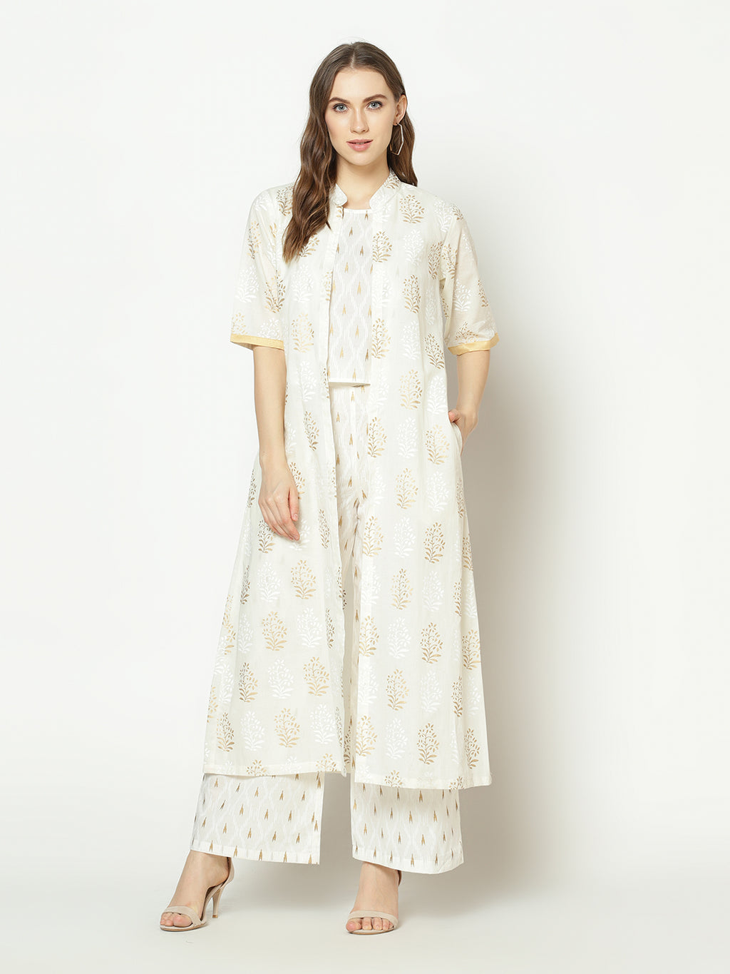 ZNX Women White Ikat Printed Straight Top pant & Jacket