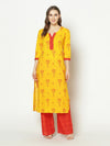 ZNX Women Yellow Printed Straight Kurta with Palazzo Set