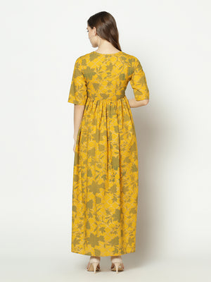 Znx Women Yellow Floral Printed Dress