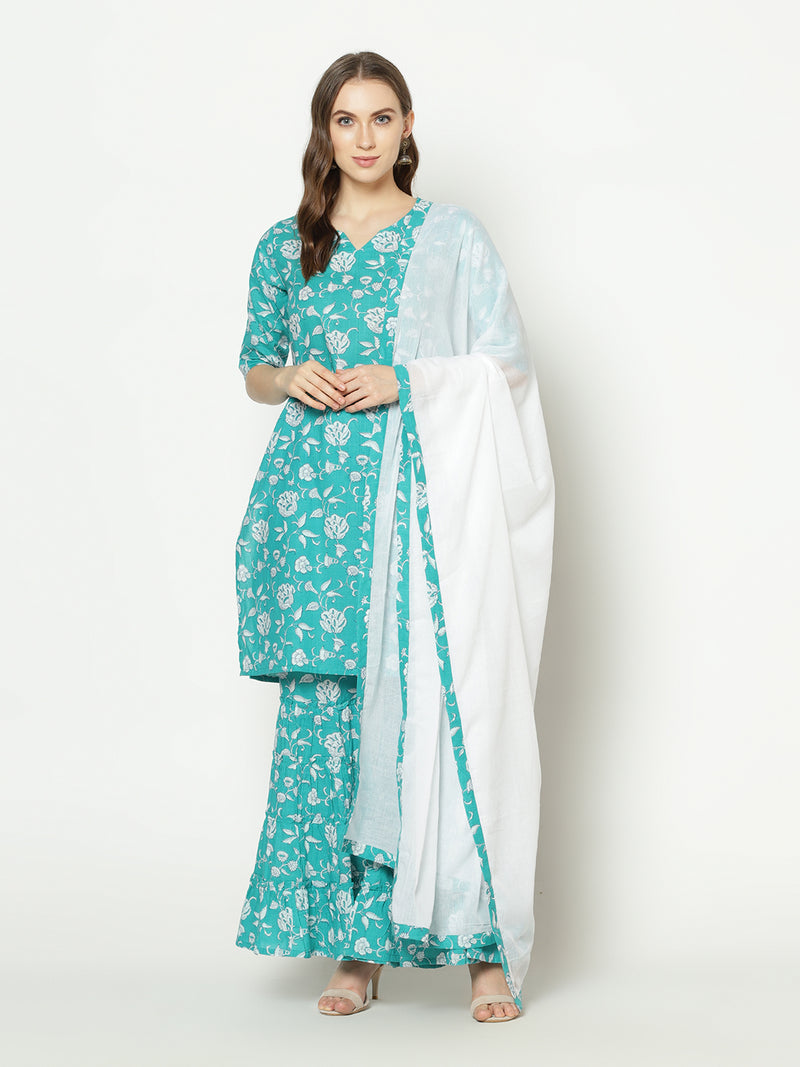 ZNX Women Torquisue Floral Printed Straight Kurta Sharara with Dupatta