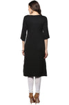 Black Digital Print Crepe Straight Kurti | Znx4ever.com
