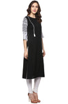 Black Solid Crepe Straight Kurti | Znx4ever.com