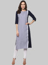 White & Blue Embellished Crepe Straight Kurti | Znx4ever.com