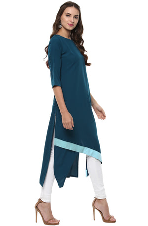 Turquoise Solid Crepe A-Line Kurti | Znx4ever.com