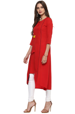 Red Solid Crepe High Low Hemline Kurti | Znx4ever.com