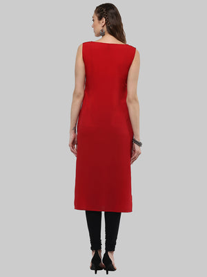 Red Printed Crepe Straight Kurti | Znx4ever.com