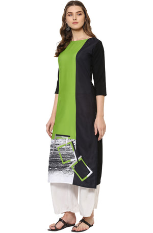 Light Green Printed Straight Kurti | Znx4ever.com