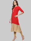 Red Printed Crepe A-Line Kurti | Znx4ever.com