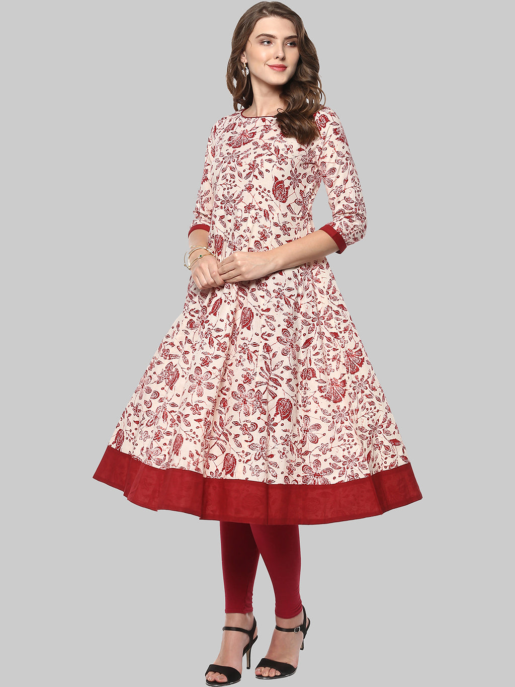 Beige Printed Cotton Anarkali Kurti | Znx4ever.com
