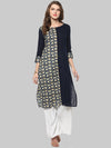 Blue Embellished Cotton Straight Kurti | Znx4ever.com