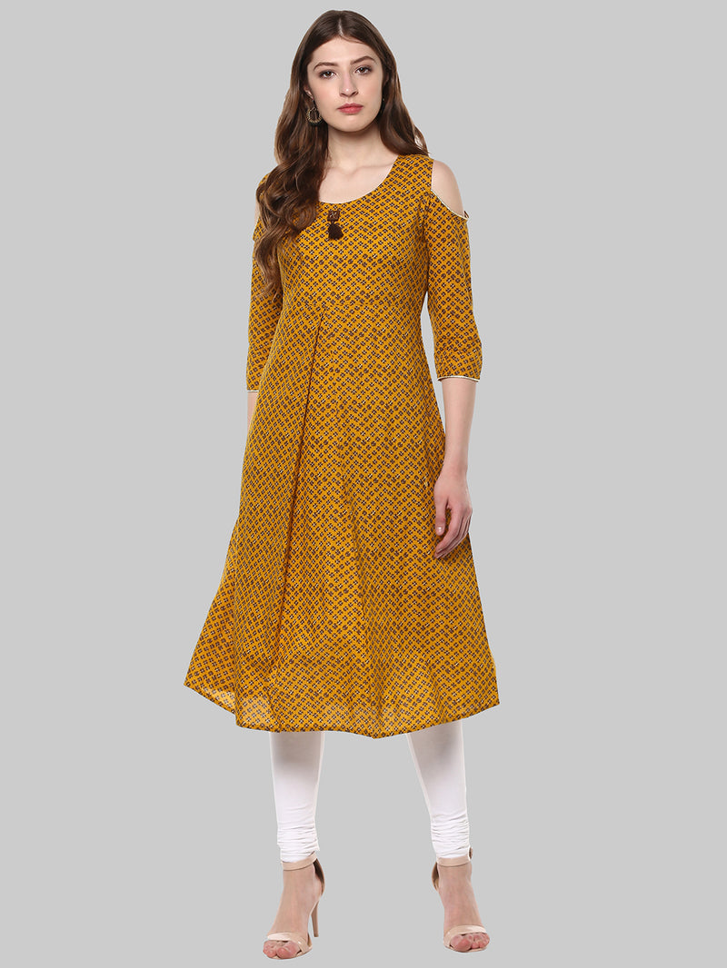Mustard Printed Cotton A-Line 3/4 Sleeve Cold Shoulder Kurti | Znx4ever.com