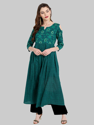 Green Printed Cotton Cold Shoulder Flared Kurti | Znx4ever.com