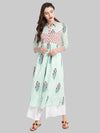 Off White Printed Cotton A-Line Kurti | Znx4ever.com