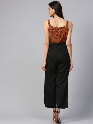 Brown Animal Print Jumpsuit | Znx4ever.com