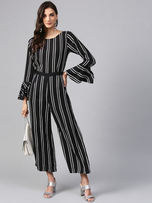 Vertical Stripes Monocromatic Jumpsuit | Znx4ever.com