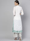 SOLID EMBROIDERED UPPER WITH BLOCK PRINTED LAYERED KURTA (Fully Stitched) | Znx4ever.com