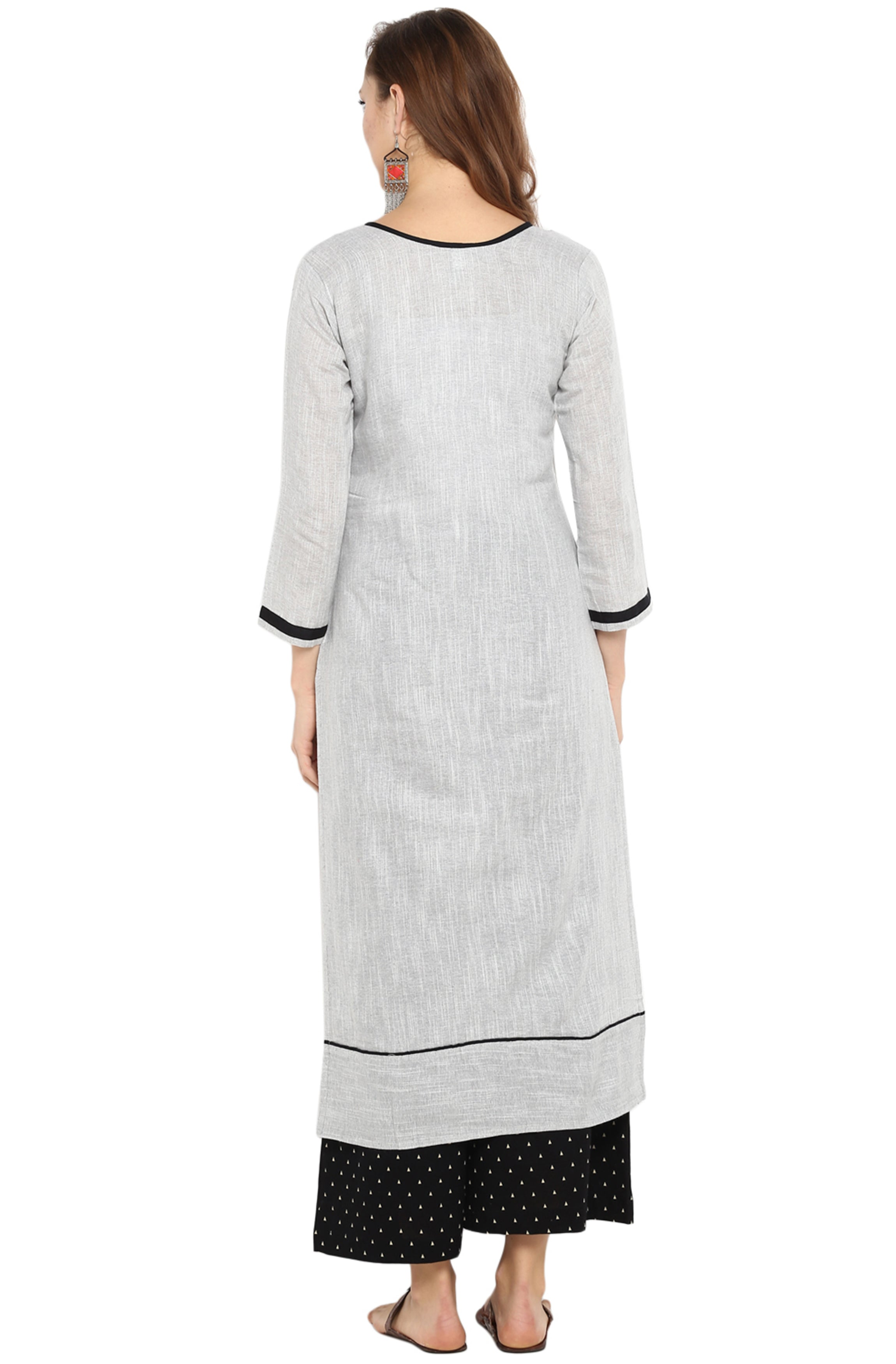 8eee29266a Light Grey Cotton Straight Kurta With White Dotted Black Palazzo.