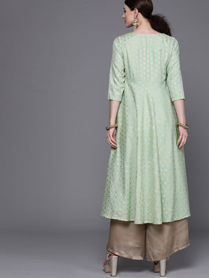 Green & Golden Woven Design Empire Anarkali Kurta( Fully Stitched)