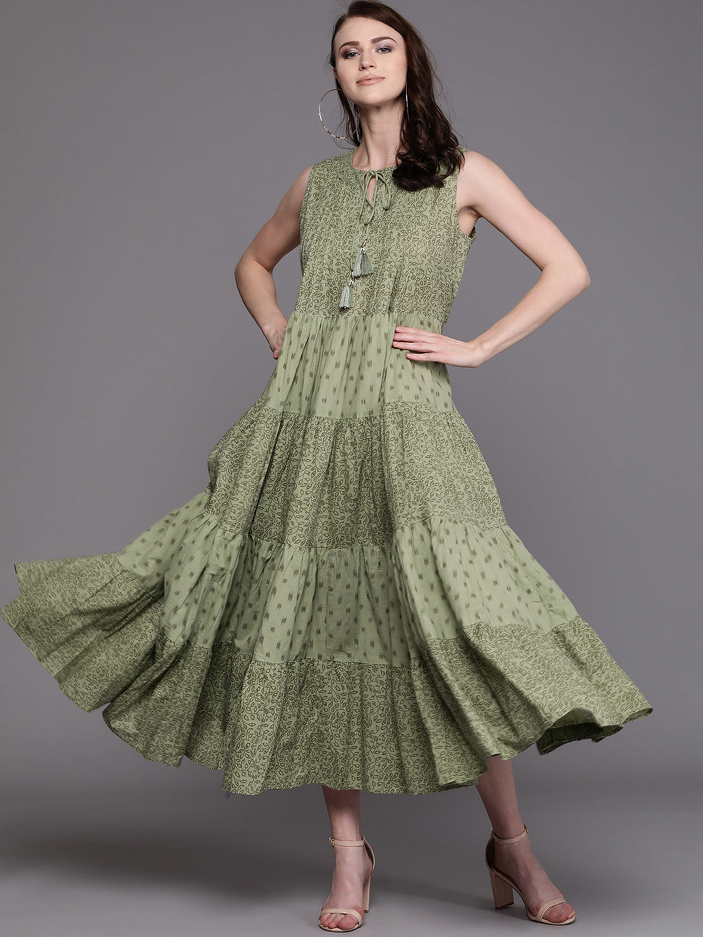 Olive Green Printed Tiered Maxi Dress (Fully Stitched)