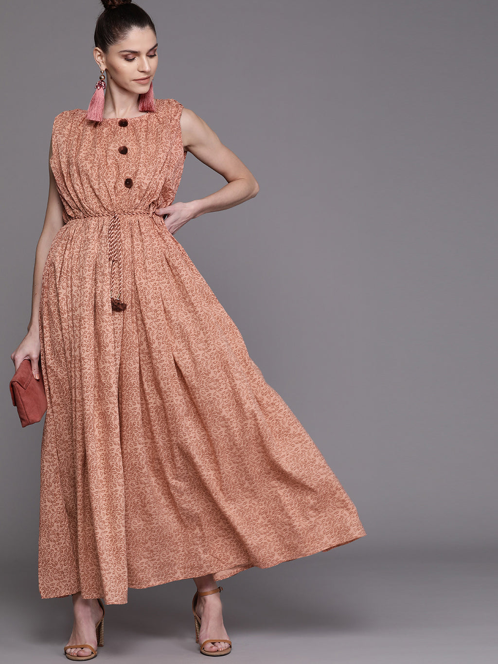 Peach-Coloured & Brown Printed Maxi Dress (Fully Stitched)