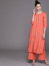 Coral Orange & Silver Self-Striped Kurta with Palazzos (Fully Stitched)