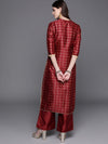 Maroon & Golden Checked Kurta with Palazzos( Fully Stitched)