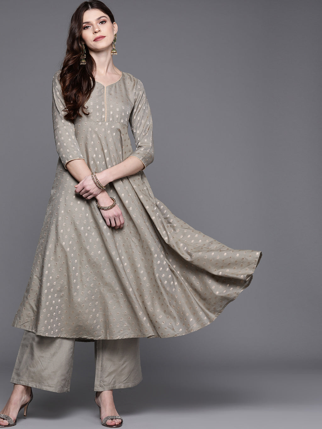 Grey & Golden Woven Design Kurta with Palazzos( Fully Stitched)