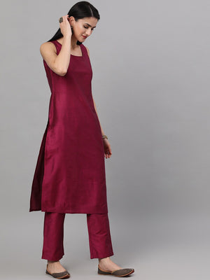 Magenta Solid Kurta Set With Ikat Woven Dupatta