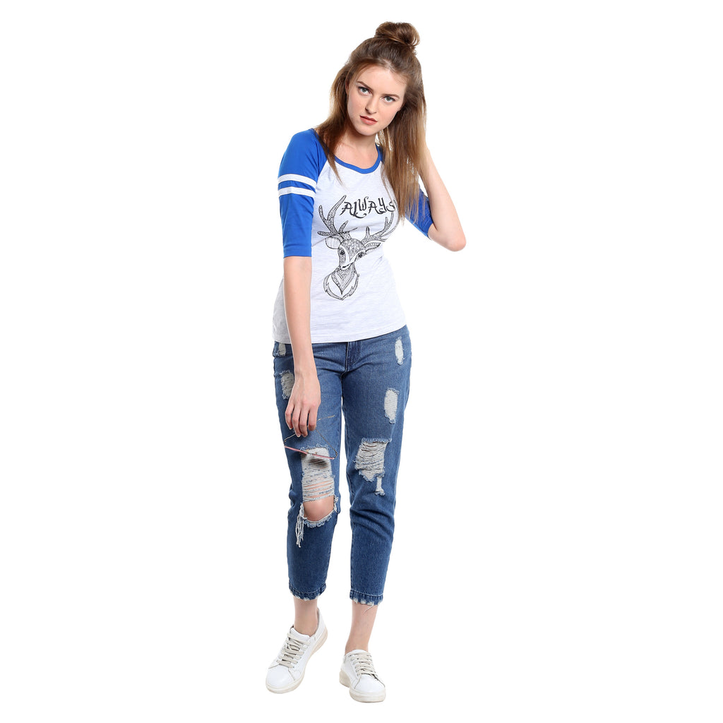 Printed White and blue Round Neck T-shirt | Znx4ever.com