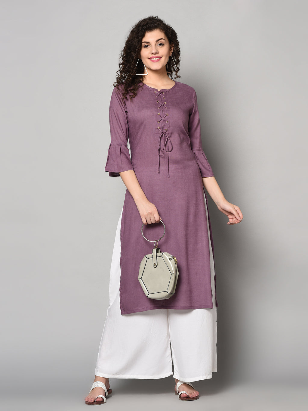 ZNX Women Solid Purple Ankle Length Kurta (Fully Stitched)