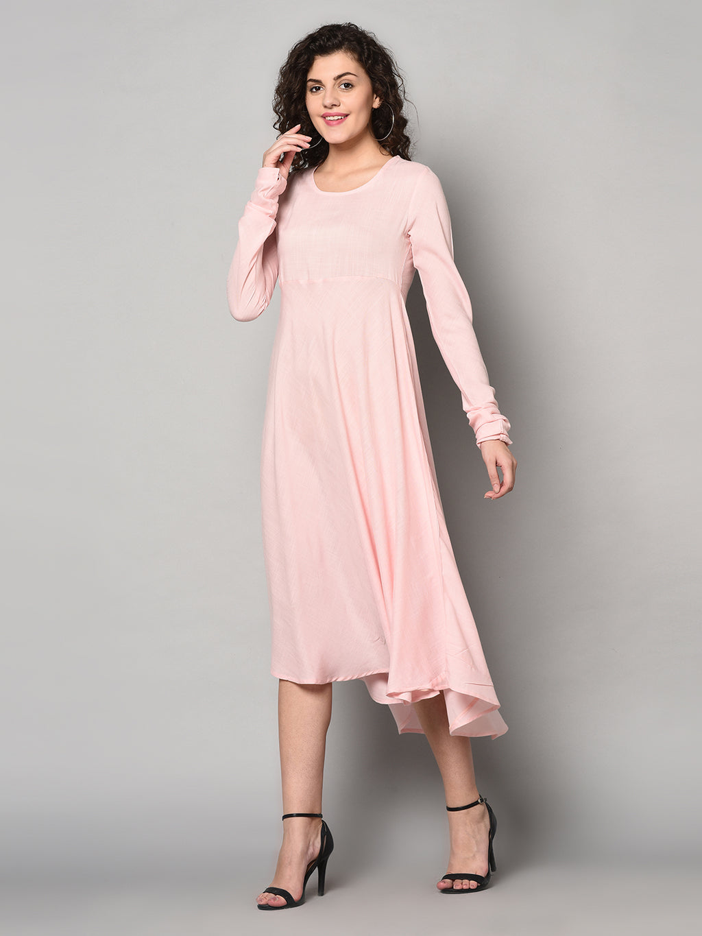 ZNX Women Solid Pink Ankle Length Kurta (Fully Stitched)