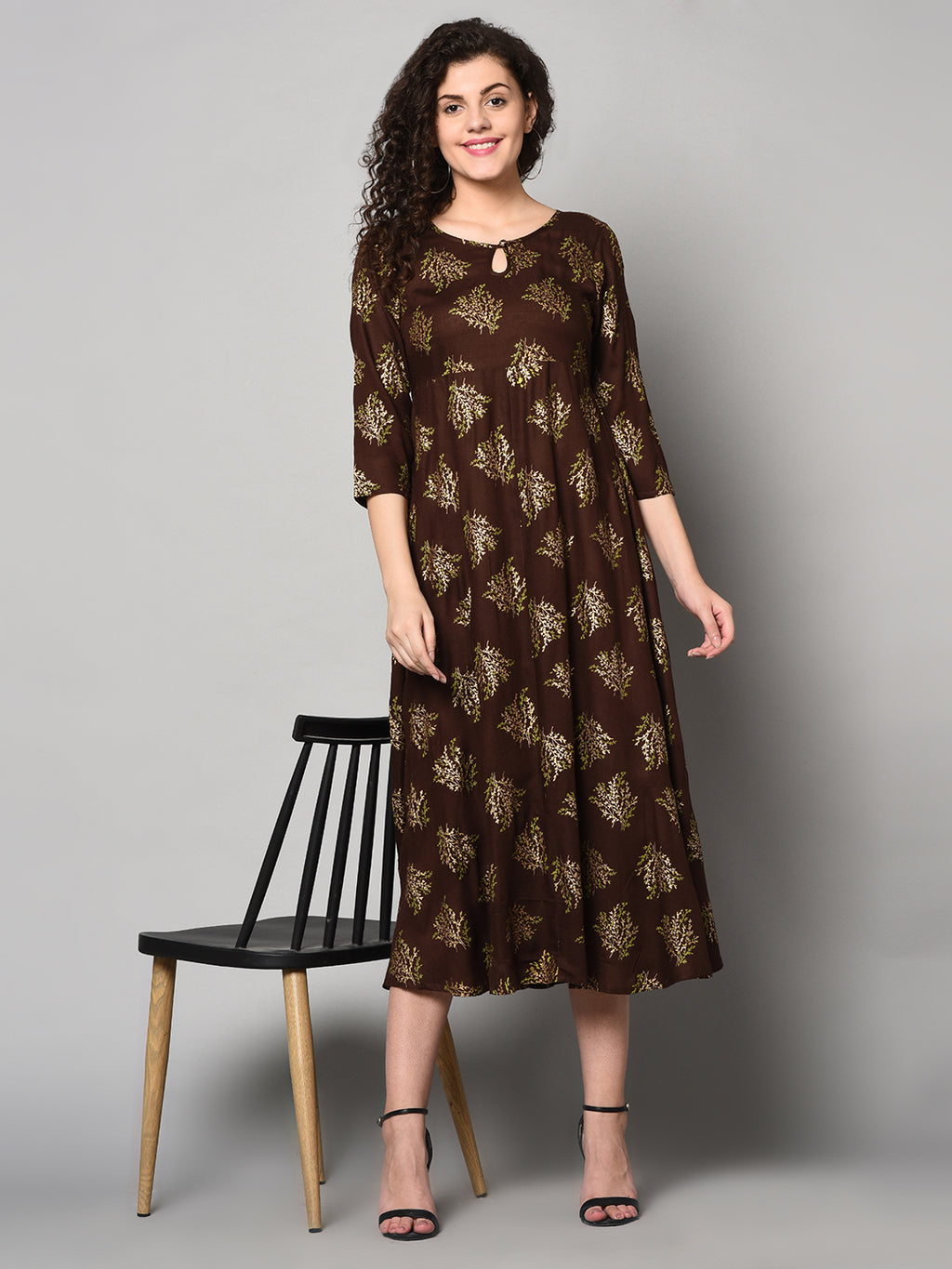 ZNX Women Brown &Gold Printed Straight Kurta (Fully Stitched)