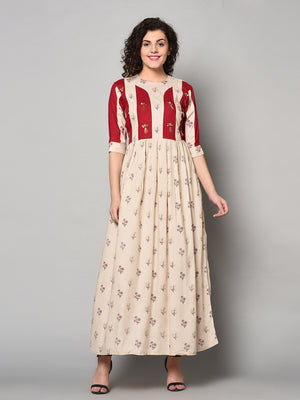 Cream and Red colour designer long Maxi Dress (Fully Stitched)