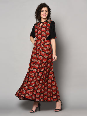 Red Design Loan cotton printed long Maxi Dress (Fully Stitched)