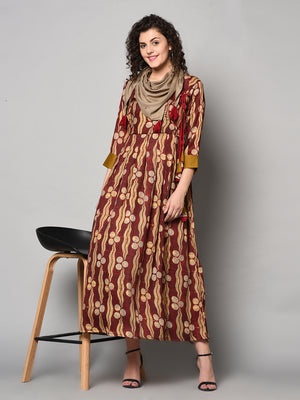 Red and Light yellow printed Anarkali Dress with scarf (Fully Stitched)