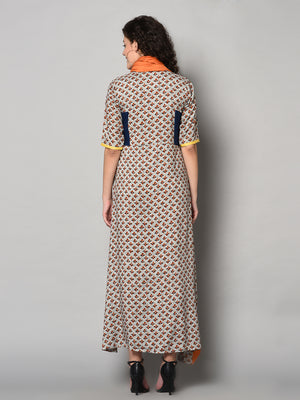 Designer Maxi Dress with scarf (Fully Stitched)