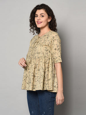 ZNX Women Beige Printed Tunic (Fully Stitched)